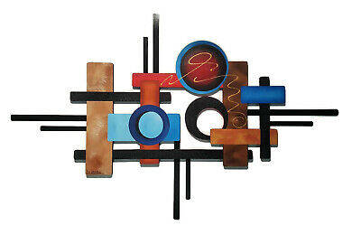 Contemporary Wood and Metal Wall Sculpture 54x34, Abstract Wall Art Contemporary Wood Sculpture