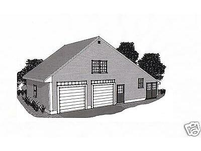 38 x 24 2 Car Garage Edifice Blueprint Plans Work Shop / Walk up Storage Loft
