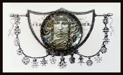 ART NOUVEAU WOMAN ~ Glass Dome Filigree STUDIO BUTTON 30mm ~ Vintage GODDESS