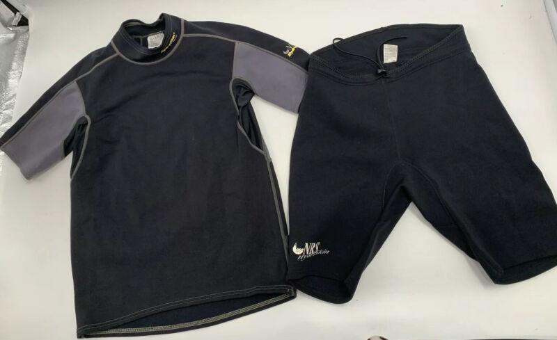 2 Piece NRS Hydroskin Titanium Shirt Top Shorts XL Black Gray