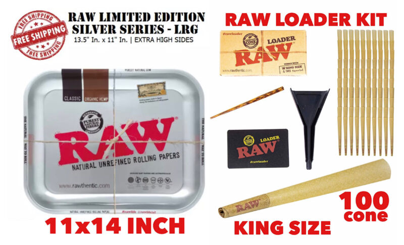 raw rolling metal tray(SILVER)large+raw king size cone(100 pack)+cone loader kit