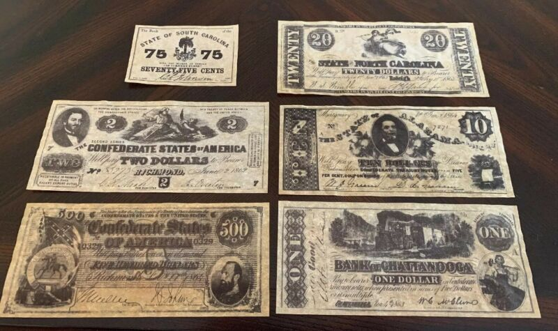 Confederate Currency Parchments - 2nd Set