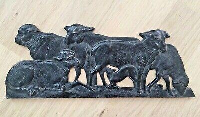 Eisen Kunstguss SHW,Relief Bild Slukptur Wandbild Schaf Lamm Herde,Metall (Kunst Eisen)