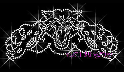 Cougar / Panther / Cat Rhinestone Iron On Transfer Hot Fix Bling School Mascot