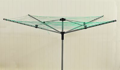 50m 4 Arm Garden Rotary Clothes Airer Dryer Washing Line & Ground Spike
