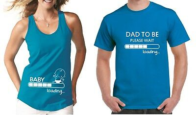 MIX Pregnancy Announcement SET Couple Shirts Baby Loading Dad To Be Baby Shower ()