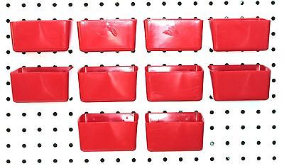 Small Plastic Red Pegboard Storage/Part Bins - 10 Pack, JSP Brand