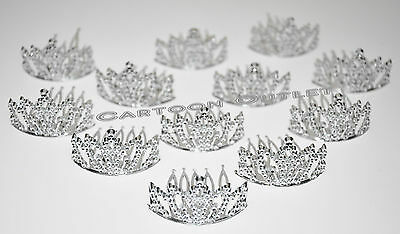 12 PRINCESS SILVER CROWNS MINI PLASTIC TIARA BIRTHDAY PARTY FAVORS RECUERDOS
