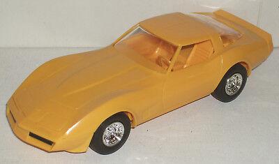 """Plastic Promo Car 1980 Chevrolet Corvette Yellow 7"""" New in Box"""