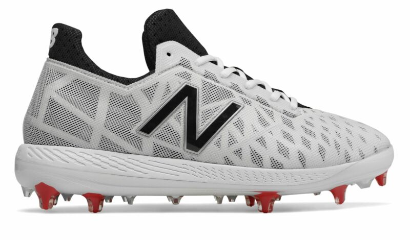 New Balance Low-Cut COMPv1 TPU Baseball Cleat Mens Shoes White with Black & Red
