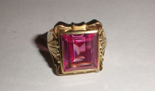 Great Vintage 10K Yellow Gold art deco ring pink glass stone size 10   10.2gr