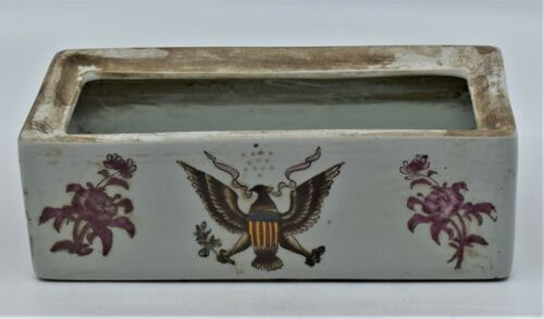 Antique Chinese export Rectangular Pot Planter American Eagle Flowers Signed