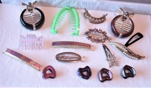 VINTAGE LOT OF 16  BARRETTES-HAIR CLIP, MISC. , MIXED STYLES & MATERIALS