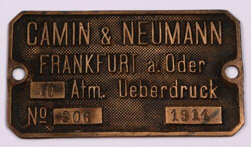 ww1 GERMAN Sign 1911 wwI GERMANY Camin Neumann Frankfurt a. Oder SHIELD Bronze