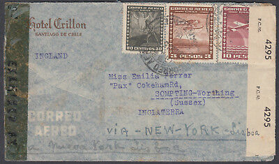 Chile, Santiago via New York - Lisbon Airmail to England; Sompting, Sussex