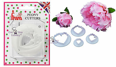 FMM Sugarcraft 4 Piece PEONY Flower Petal Cutter Set  FREE P&P