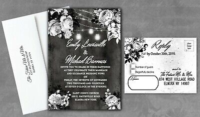 Black And White Bridal Shower (Black and White Wedding Invitations Rose Halloween Bridal Shower Set of)