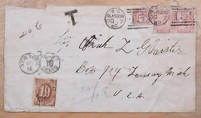 Great Britain Glasgow to US 1880 Cover With 10 Cents Postage Due Stamp