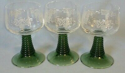 (3) Large German Roemer Wine Glasses Etched Grape Bowls W/ Green Beehive Stems