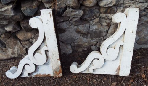 "ANTIQUE PAIR Architectural CORBELS Distressed Chippy White Paint LARGE 22"" X 20"""