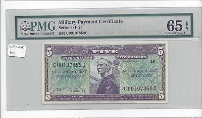 MPC Series 681  5 Dollars PMG 65EPQ  GEM UNC