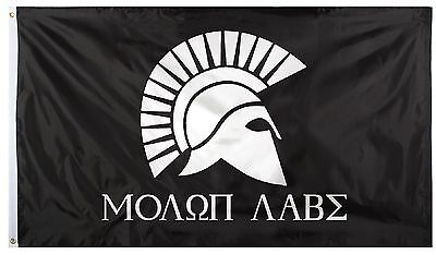 Black and White Spartan Military Warrior Helmet 'Molon Labe' Flag - 3' x 5'