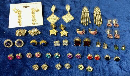 Mixed Lot of Rhinestone Faux Gemstone Earrings Drop Dangle Stud 24 Pairs Fashion