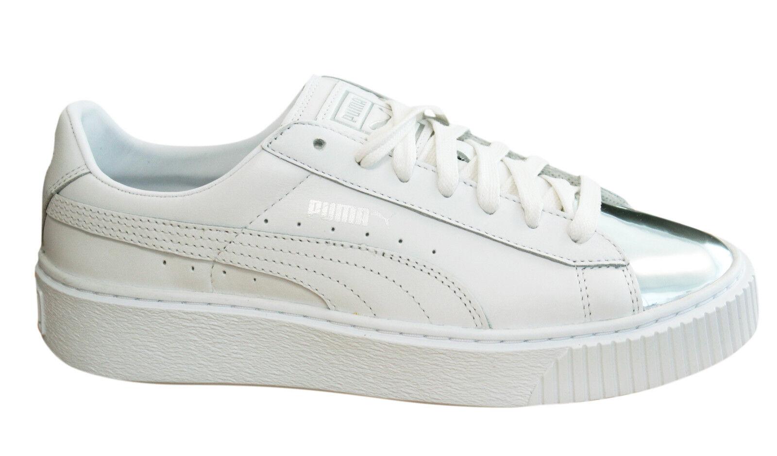 Puma Basket Classic Textile White Womens Lace Up Trainers 360356 01 B12C