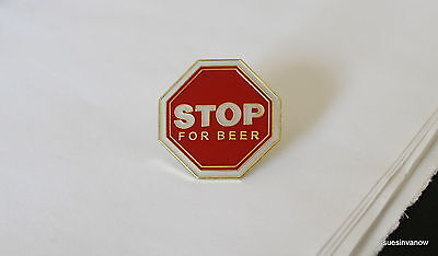 New Stop for Beer Lapel Hat Pin College Party Tie Tack Alcohol Beverage Cartoon