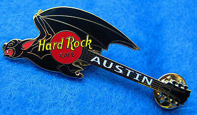 AUSTIN TEXAS FLYING VAMPIRE BAT WINGS HALLOWEEN GUITAR 2002 Hard Rock Cafe PIN