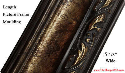 Picture Frame Moulding Solid Wood - 18' Italian HUGE Swan Black / Gold Tone Ornate Picture Frame Moulding Solid Wood