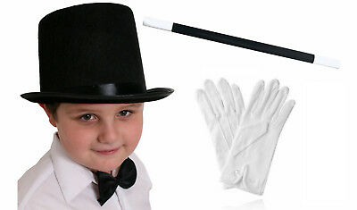 CHILDS TOP HAT WHITE GLOVES AND WAND MAGICIAN FANCY DRESS COSTUME SET MAGIC MAN - Magic Hat And Wand