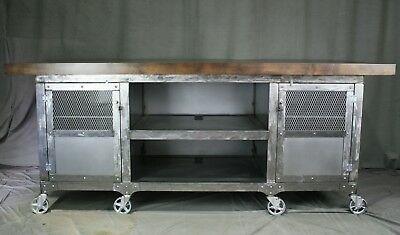 Industrial Kitchen Island - Workstation. Solid Oak Wood Top and Polished Steel. for sale  Houston