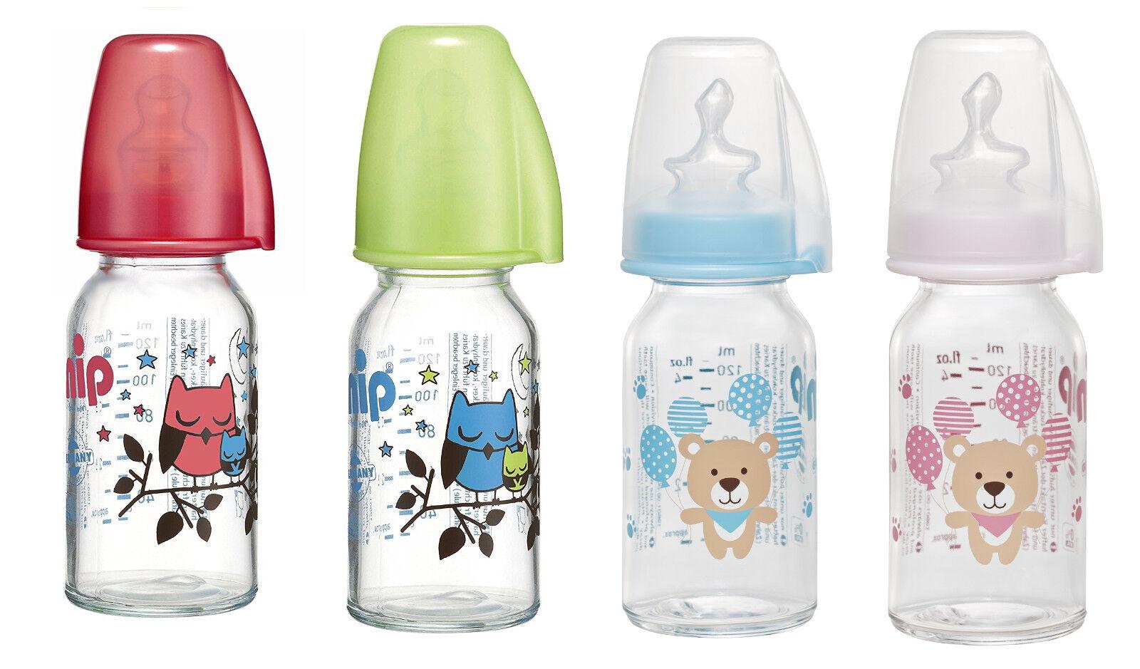 nip Babyflasche aus Glas 125 ml  mit Trinksauger Silikon Gr. 1 für Tee *NEU*