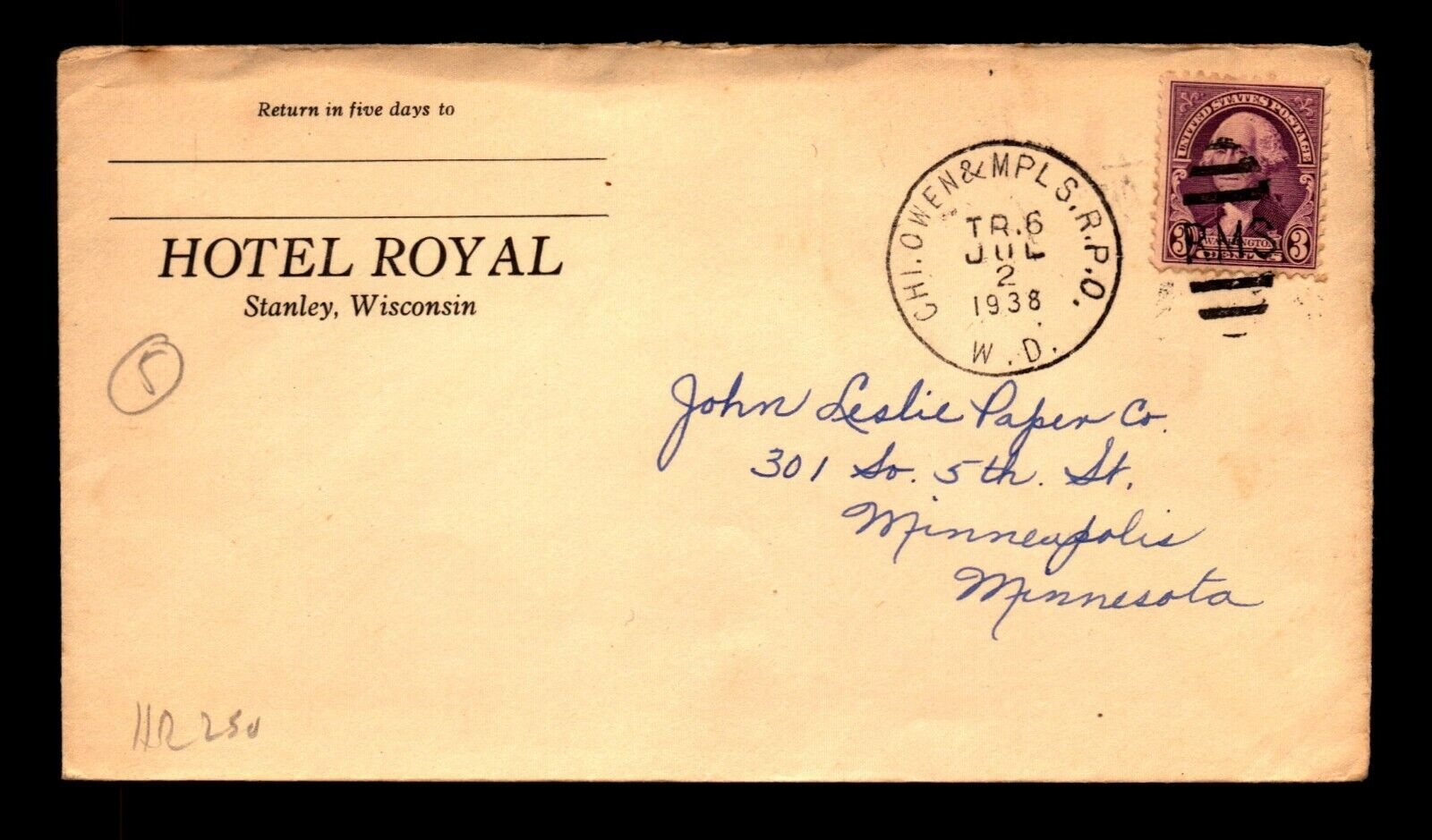 1938 Hotel Royal Stanley WIS Cover / Chi Owen MPLS RPO WD - L19465 - $3.98