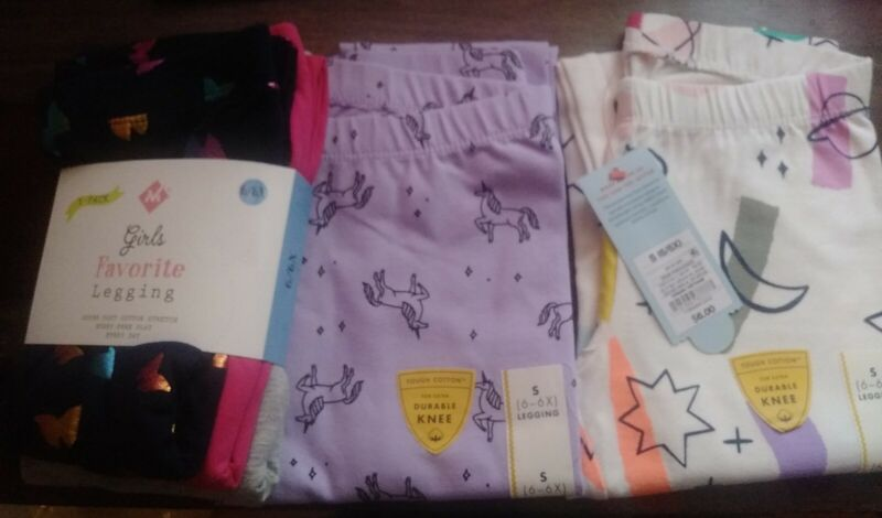 5 NEW Pair Girls 6-6X Leggings New Cat & Jack Full Length Unicorn Space Solid