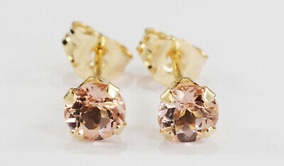 BEENJEWELED ROUND GENUINE NATURAL PEACH MORGANITE EARRINGS~14 KT YELLOW GOLD~4MM