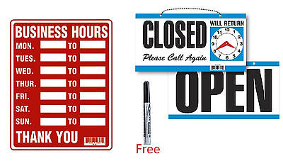 "2 Signs 1x BUSINESS HOURS 9""x12"" & 1 x OPEN / CLOSED w/ Clock Plastic w Free Pen"