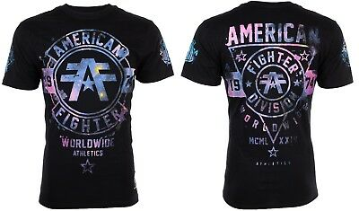 AMERICAN FIGHTER Men T-Shirt SILVER LAKE GALAXY Athletic BLACK Biker Gym UFC $40