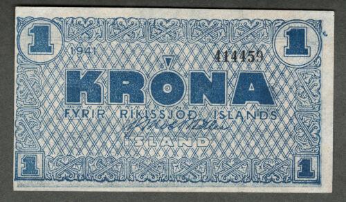 ICELAND 1944-5 ONE KRONA NOTE, P22i AU