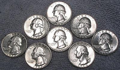 8 1964 D WASHINGTON SILVER QUARTERS   EXCELLENT BEAUTIFUL BRILLIANT COINS