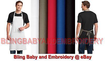 1 Full Length X-long Bib Apron Black White Red Blue Khaki Tan Brown