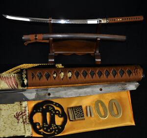 41-JAPANESE-SAMURAI-KATANA-FUNCTIONAL-SWORD-Clay-Tempered-UNOKUBI-ZUKURI-BLADE