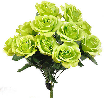 Lime Green ~ 12 Open Long Stem Roses Silk Wedding Flowers Bouquets Centerpieces](Lime Green Wedding)