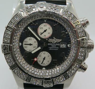 Breitling Super Avenger Chronograph A13370 w/ Custom Diamond Bezel 48mm