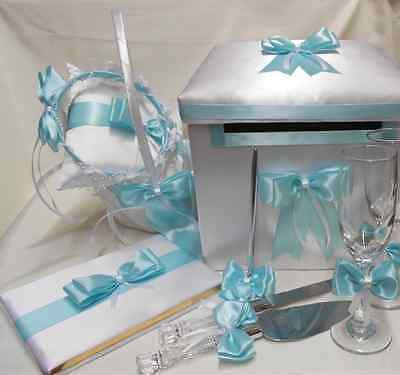 Aqua Pool Blue Flower Girl Basket Pillow Guest Book Pen Card Box Cake Server  Basket Pillow Guest Book Box