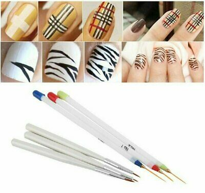 6Pcs Set Acrylic French Nail Art Pen Brush Painting Drawing Liner Manicure Tools Health & Beauty