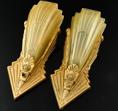 GREAT PAIR c1920 ART DECO CAST METAL SLIP GLASS SHADE ELECTRIC WALL SCONCE LAMPS
