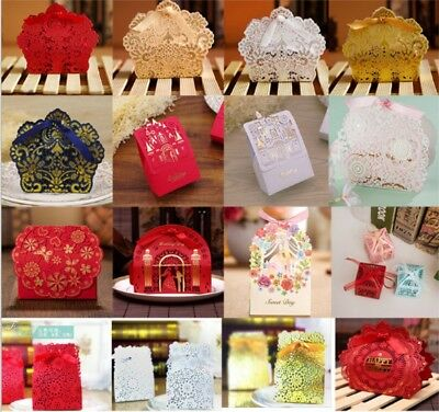 10/50 Lace Laser Cut Cake Candy Gift Boxes with Ribbon Wedding Favor Gift Boxes - Cake Favor Boxes