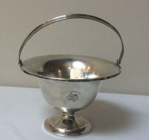 Vintage Webster Sterling Silver Basket / Candy Bowl with Handle